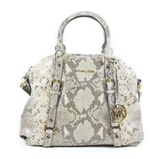 Michael Kors Bedford Angora Python Leather Large Bowling Satchel Shoulder Bag