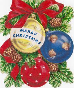 Vintage Christmas Ornaments. Vintage Merry Christmas. Retro Christmas Card. Ornaments with Angels.