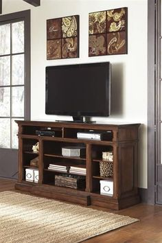 Gaylon Casual Burnished Brown Wood XL TV Stand