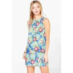 Boohoo Sophia Tropical Print Sleeveless Shift Dress ($20) ❤ liked on Polyvore featuring dresses, blue, blue dress, cocktail dresses, white dress, bodycon dress and blue cocktail dress