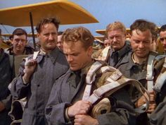 """James Cagney, Alan Hale & the other """"Captains of the Clouds""""."""