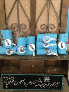 Great as a party favor for a Frozen Themed birthday party! Handmade with fleece and tied with a Frozen character image and Thank you <3 Can make