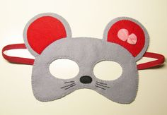 Mouse mask for kids - gray red pink bow - handmade childrens animal costume for girl - soft felt Dress Up play accessory - Theatre roleplay