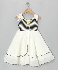 Another great find on #zulily! Black & Ivory Daisy A-Line Dress - Toddler & Girls #zulilyfinds