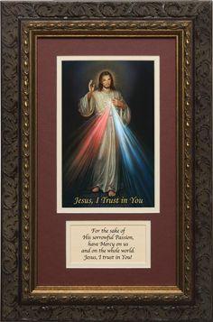 "Divine Mercy Image with prayer 8"" x 14"" $60.00  #Catholic #DivineMercy #CatholicGifts #Saint #Faustina"