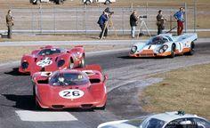 Porsche, Ferraris and Porsche going through turn six on the infield course.  (Fred Lewis photo)