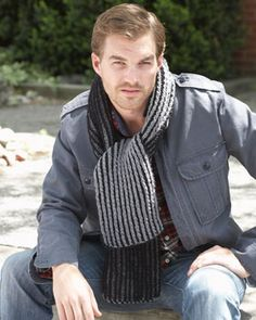 Bundle up in these cozy knit Brioche Stitch Scarves for men and boys. Shown in Bernat Super Value.