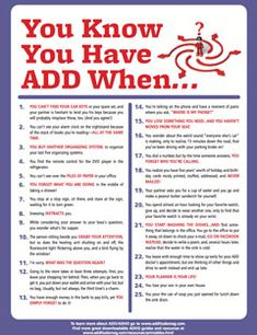 ADHD Adults shared humorous signs and symptoms of attention deficit hyperactivity disorder -- finishing the sentence: You know you have ADD/ADHD when. Adhd Odd, Adhd And Autism, Aspergers Autism, Adhd Brain, Adhd Help, Adhd Strategies, Attention Deficit Disorder, Adult Adhd, Disorders