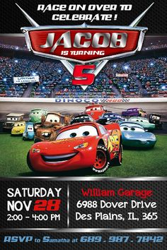 Cars Birthday Invitation Mater and Lightning McQueen Birthday