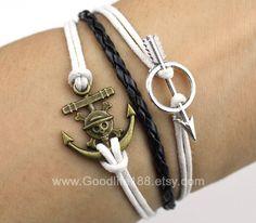 Anchor Bracelet,Harry Potter Arrow bracelet,antique silvery brass unique little anchor via Etsy.