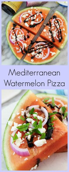 Mediterranean Watermelon Pizza - A sweet and savory watermelon topped with salty feta, savory onion and topped with a tart balsamic glaze and sprinkled with a little bit of parsley.