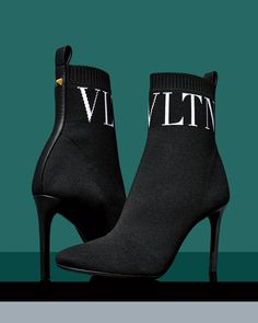 Valentino Booties: Monochrome VLTN Ankle Boots - High Heel Seek - - These stretch-knit Valentino booties are simple, yet make a statement. The stylish ankle boots sport a bold but chic monochrome color palette and VLTN logo. Ankle Boots, High Heel Boots, Heeled Boots, Bootie Boots, Shoe Boots, Heeled Sandals, Aesthetic Shoes, Hype Shoes, Dream Shoes