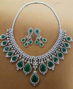 Diamond Necklaces : Emerald & Diamonds Necklace Set - Buy Me Diamond Diamond Necklace Set, Circle Pendant Necklace, Diamond Pendant, Diamond Choker, Indian Wedding Jewelry, Bridal Jewelry, Indian Jewelry, Emerald Jewelry, Diamond Jewelry