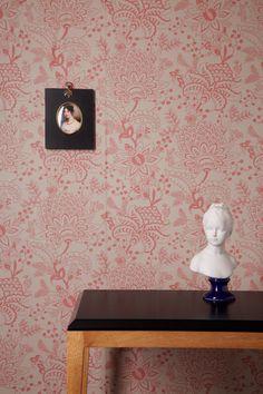 Naar Rotary Printed Wallpaper - Rose Pink / Stone Grey by AkinandSuriHome on Etsy https://www.etsy.com/uk/listing/480679140/naar-rotary-printed-wallpaper-rose-pink