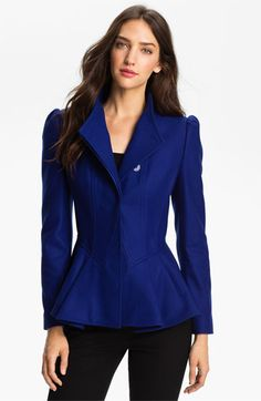 A blue jacket to cure the blues.   (Ted Baker London Peplum Wool Jacket available at Nordstrom)
