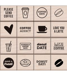 """Kelly Purkey Mounted Rubber Stamp Set 3""""X3""""-Coffee & Donuts 