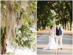 Coral and white wedding at New Bern Country Club by Amanda and Grady Photography.
