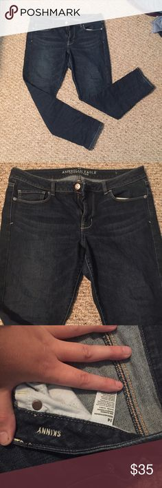 "AEO ""skinny"" dark wash jeans Barely worn! Dark washed jeans from American Eagle. American Eagle Outfitters Jeans Skinny"