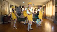 """HTC One M8 / Sprint Framily Boogie Fever Dancing Commercial  """"Check out the low end on this thing....""""  I love these crazy, Wes Anderson-ish commercials"""