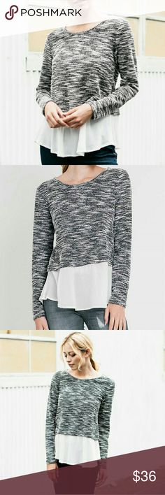 Flecked Overlaid Sweater Flecked black and white sweater overlaying white bottom. Beautiful, sophisticated. Long sleeves. Looks great with leggings! Evelynn's Boutique Sweaters Crew & Scoop Necks