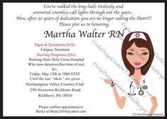 nurse theme Retirement Invitation EACH by TrishaDesignCreation Retirement Invitation Template, Retirement Party Invitations, Retirement Parties, Invitation Ideas, Hard Work And Dedication, Work Hard, Star Magic Ball, Nursing Diagnosis, Moving Announcements