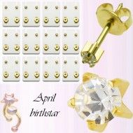Wholesale Body Jewelry Gold Plated Studs, April Birthstar Body Jewelry ES4 Wholesale Body Jewelry, Gold Jewelry, Studs, Place Cards, Plating, Place Card Holders, Holiday Decor, Earrings, Ear Rings