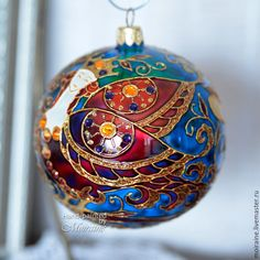 Hand painted glass Christmas ornament