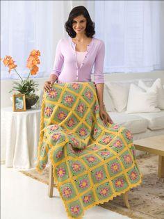 Country Flowers Crochet Afghan
