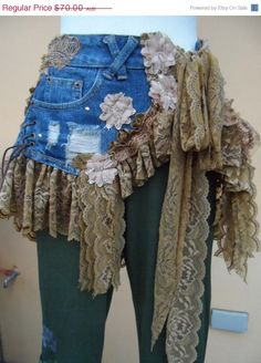 20%OFF denim and lace BUSTLE BELT with shabby by wildskin on Etsy
