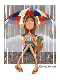 caught in the rain, again! Rain Umbrella, Under My Umbrella, Art Mignon, I Love Rain, Rain Art, Umbrellas Parasols, Art Et Illustration, Singing In The Rain, Paperclay