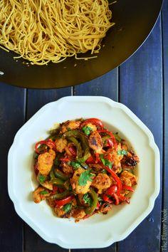 Chilli Chicken with Garlic noodles