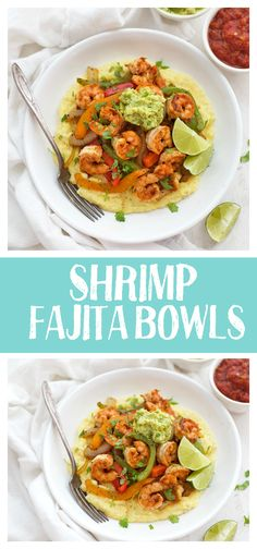 Shrimp Fajita Bowls - An easy chili and lime seasoning plus some smokey peppers and onions make these bowls amazing! Serve them with rice, polenta, tortillas, or salad greens!