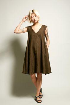 No.6 Sydney Dress in Olive Linen