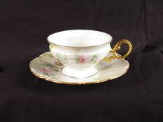 Hutschenreuther Selb LHS teacup saucer vtg flowers pink gold hand painted signed #Hutschenreuther