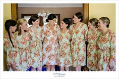Bride and Bridesmaids before wedding in floral robes