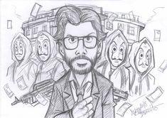 La Casa Del Papel by Djiguito on DeviantArt Joker Drawings, Naruto Drawings, Cool Art Drawings, Art Drawings Sketches, Pencil Drawings, Doodle Art Drawing, Hand Painting Art, Canvas Art, Photos