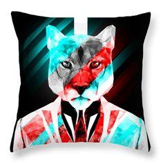 Abstract Puma Throw Pillow Cougar Pillow by Filip Aleksandrov Custom print Throw pillows Geometric Print Pillow Animal Print Pillow