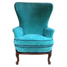 Butterfly Wingback in Turquoise Velvet - $1,200 Est. Retail - $850 on Chairish.com