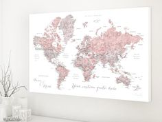 Custom quote world map canvas print - Dusty pink  watercolor world map with cities. Color combination: Piper