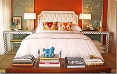 Love the wallpaper panels flanking the bed.