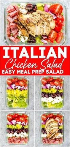 Looking for new lunch salad ideas? This Italian Chicken Salad is a healthy and filling meal prep salad idea perfect for taking to work! Easy Healthy Meal Prep, Easy Healthy Recipes, Lunch Recipes, Easy Meals, Easy Lunch Meal Prep, Meal Prep Keto, Health Recipes, Eating Healthy, Healthy Foods