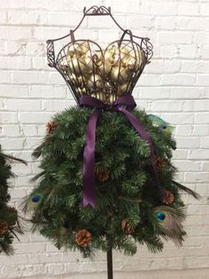 Pre-Made Dress Form Christmas Tree: Peacock Feathers & Gold Ornaments