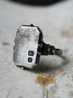 Ring, macha silver, hallmarked, cast, antique
