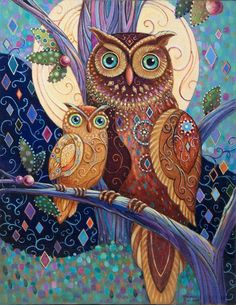 Wall Art - Painting - Owl Baby And Mother by Marjorie Sarnat Owl Artwork, Owl Cartoon, Owl Pictures, Owl Crafts, Baby Owls, Bird Art, Coloring Books, Art Drawings, Artsy