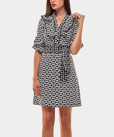Take a look at this Black & White Ruffle Lavinia Three-Quarter Sleeve Dress on zulily today!