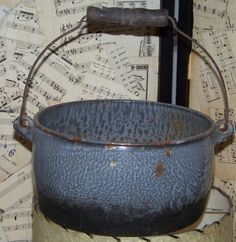 Mid Century Grey Graniteware Pot with Wire and by AlloftheAbove, $27.00