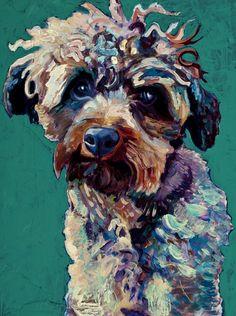 9 x 12, Acrylic, Sit Stay Painted, dog art