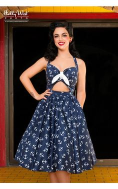 Pinup Couture- Renee Dress in Navy Anchor Print | Pinup Girl Clothing