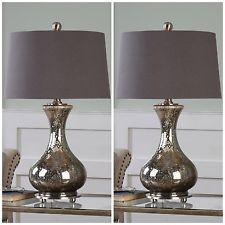 два искусственно состаренный MERCURY стеклянная настольная лампа матовый никель металлических деталей льняной абажур
