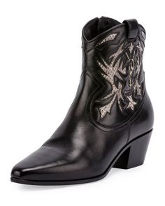 X3CVE Saint Laurent Rock Snake-Inset 40mm Western Boot, Roccia/Nero